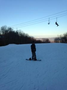 on snowboard